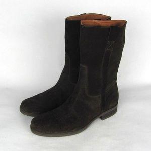 J. CREW Brown Suede Mid Calf Boots 10